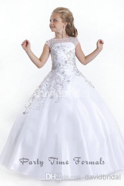 2015 cheap crystal short sleeves flowergirl white flower