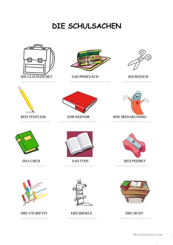 Schulsachen Woertersalat | Meine Schulsachen, in der Schultasche ...