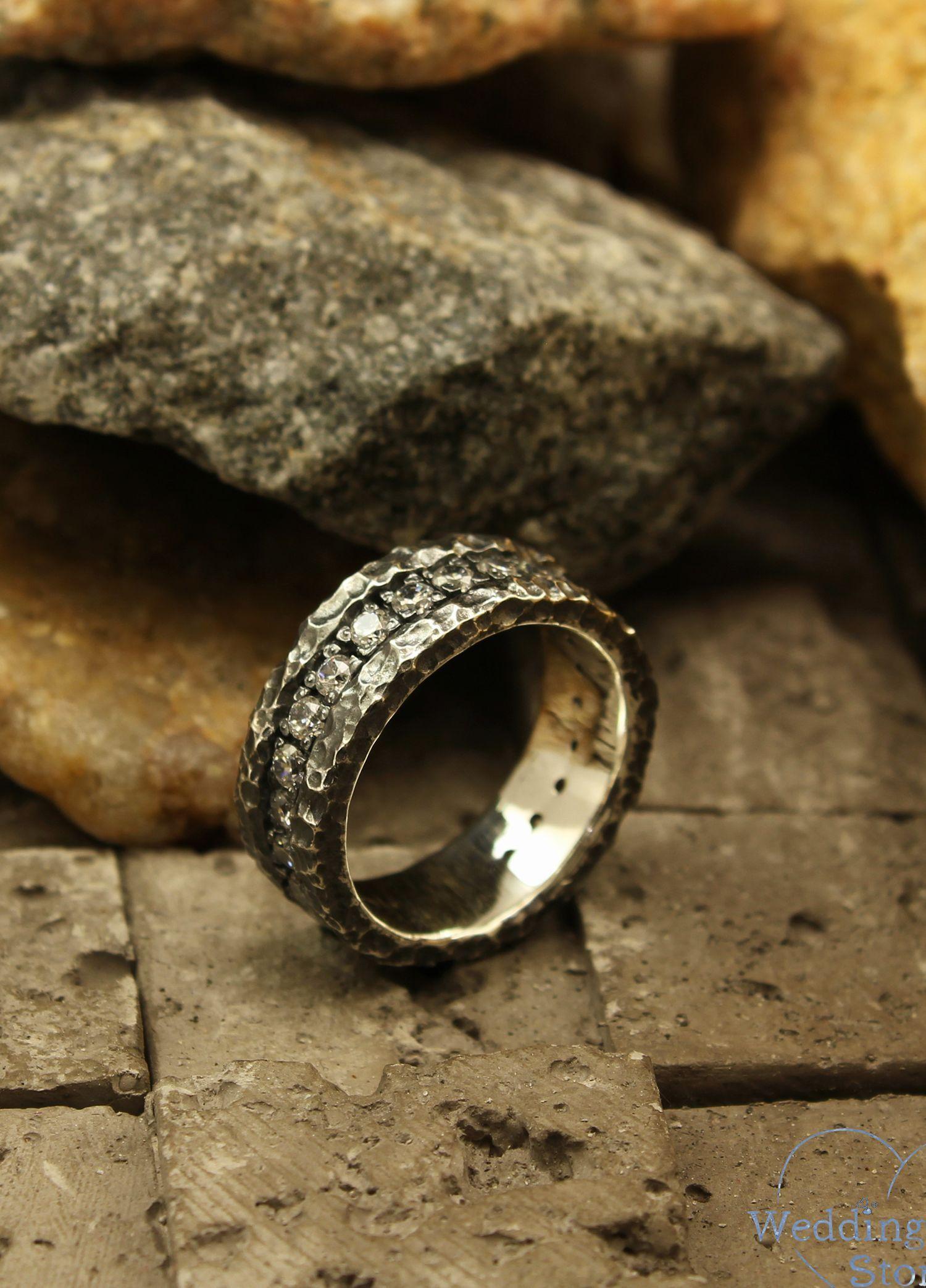 Massive Hammered Wedding Band Durable Sterling Silver Wedding Etsy In 2020 Sterling Silver Wedding Rings Wedding Rings Rose Gold Silver Wedding Rings