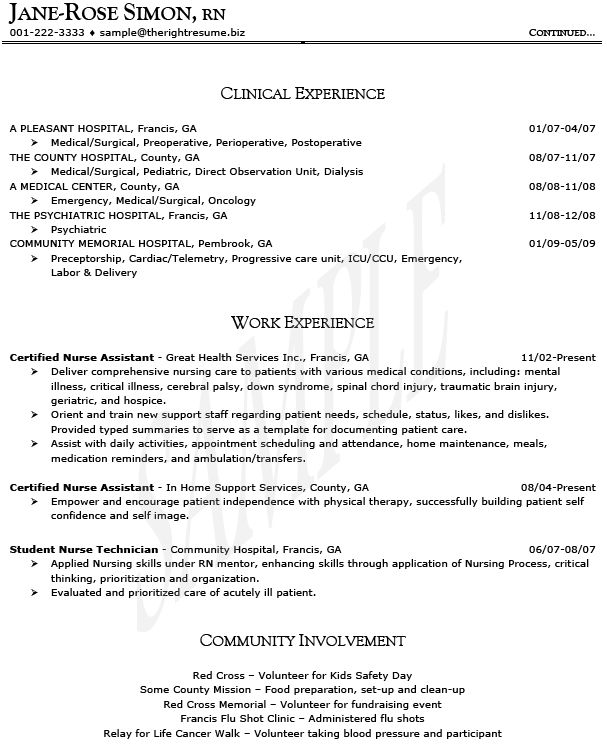 Oncology Nurse Resume Templates - http\/\/wwwresumecareerinfo - psych nurse resume