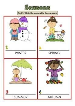 SEASONS Grade 1 - 2 FREE | Seasons worksheets, Grade 1, 1st ...