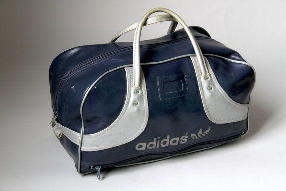 509d496b0 Vintage retro 70s Blue Grey vinyl Adidas gym bag sport by HAULHOME, $185.00