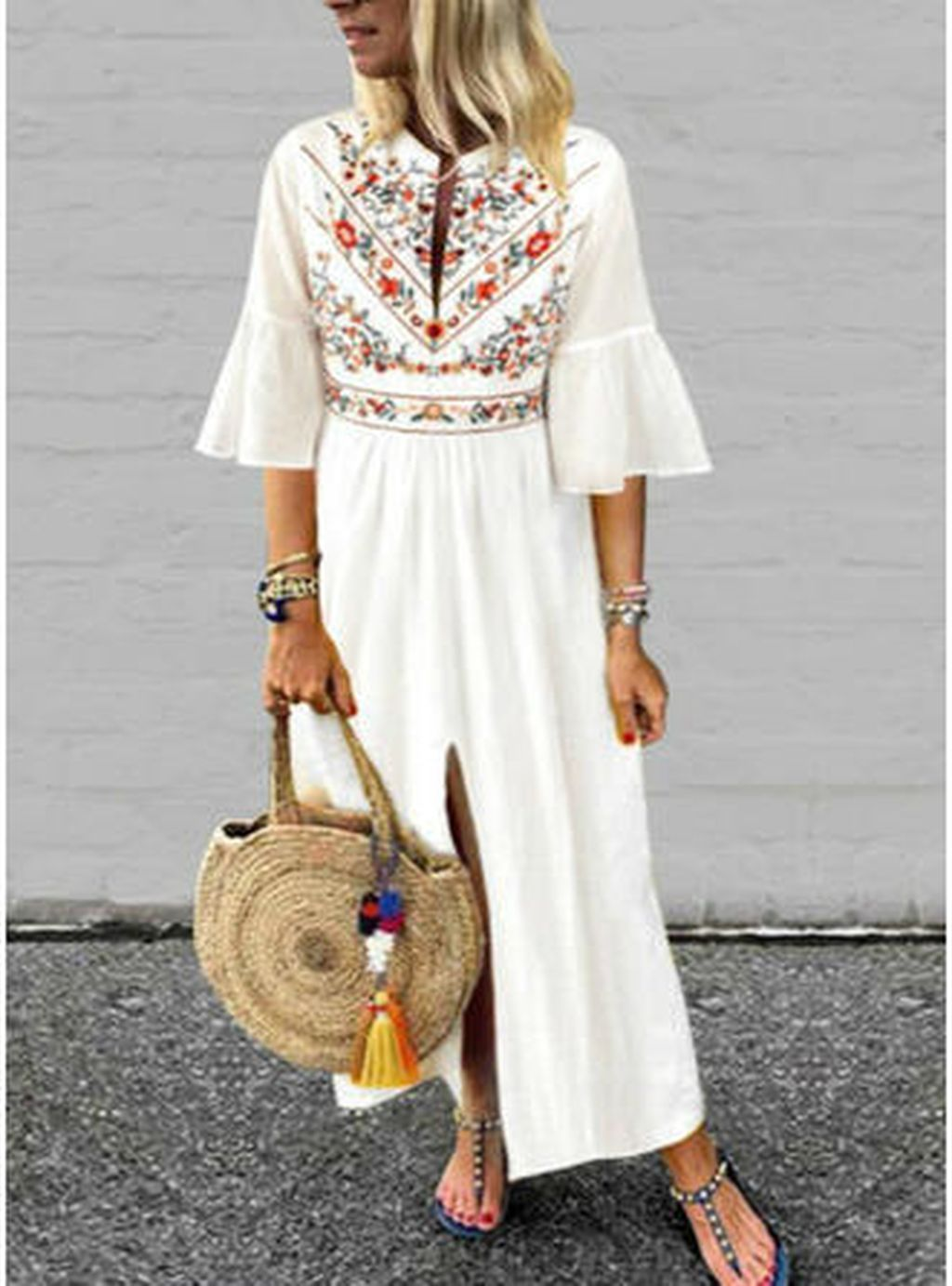 38 Beautiful Vintage Maxi Dress Summer Outfits Printed Casual Dresses Casual Dresses Maxi Dress With Sleeves [ 1383 x 1024 Pixel ]