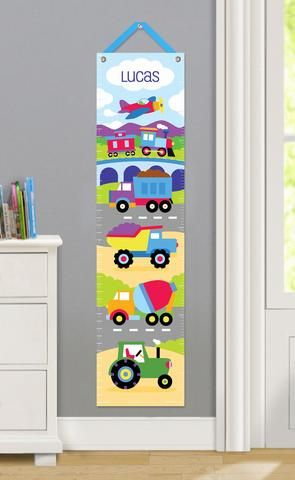 Trains Planes Trucks Personalized Kids Canvas Growth Chart By