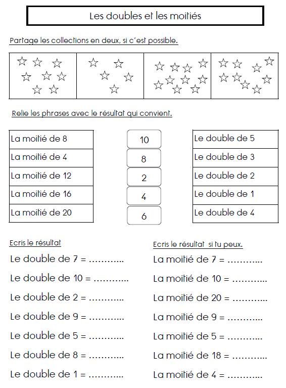Les Doubles Et Les Moitiés Maths Double Moitie Math Doubles Et Math