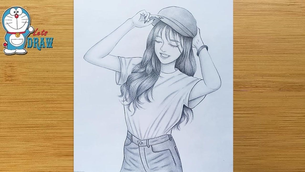 How To Draw A Smiley Face A Girl With Cap Drawing Pencil Sketch Bir Kiz Nasil Cizilir Youtube Pencil Drawing Images Cap Drawing Girly Drawings
