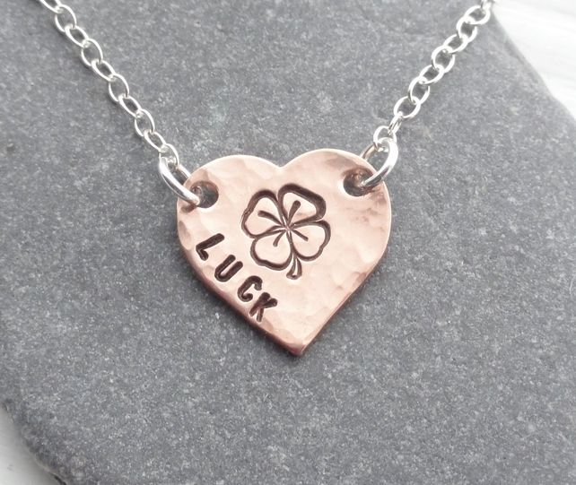 Personalised Four Leaf Clover Copper Heart & Sterling Silver Necklace - LUCK £17.00