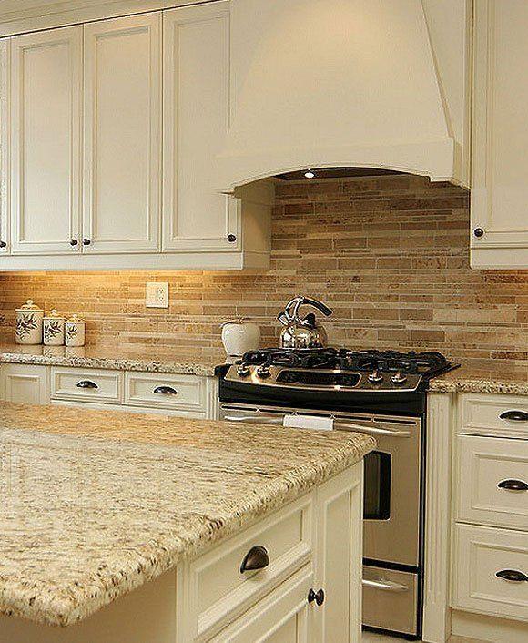 Ivory Glazed Kitchen Cabinets: TRAVERTINE SUBWAY MIX Backsplash Tile