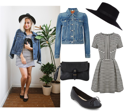 Out for Brunch Wear | What a fabulous look for a weekend brunch date! Get the look with a Warehouse stripe dress and a Levi's classic trucker jacket. Accessorise with a River Island hat, a pair of New Look ballet flats and an Olive Cooper black leather clutch.
