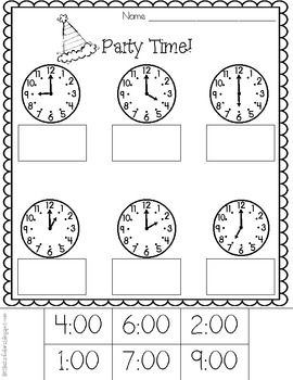 Party Time! Telling Time to the Hour Printables [Freebie