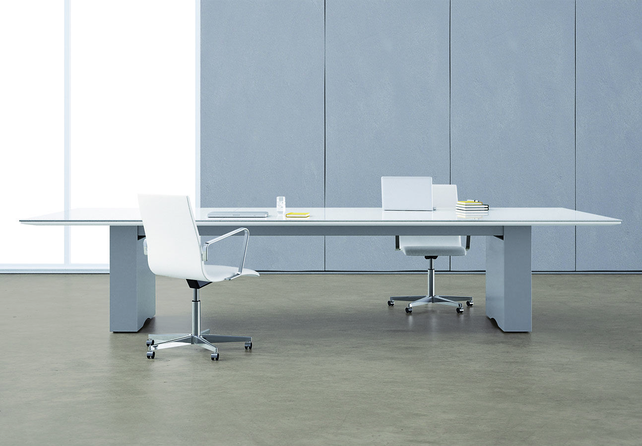 Flow Conference Table With A Glass Top And Painted Rectangle Bases