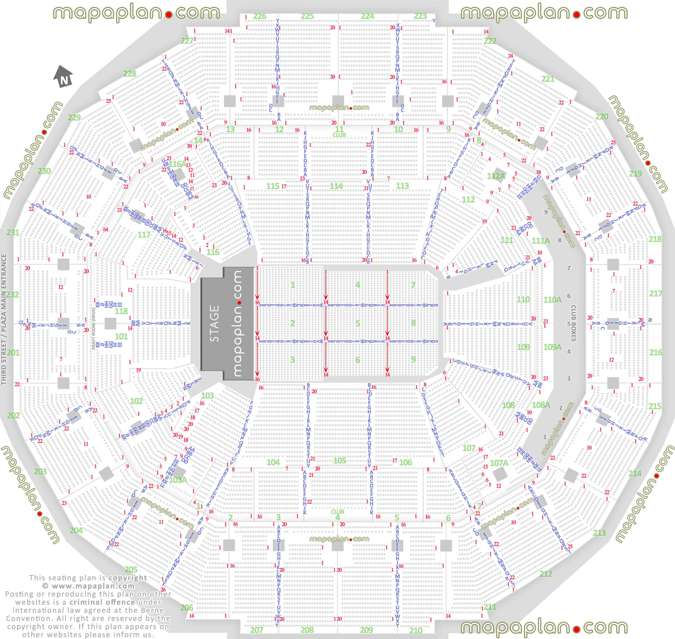 detailed seat row numbers end stage concert sections floor