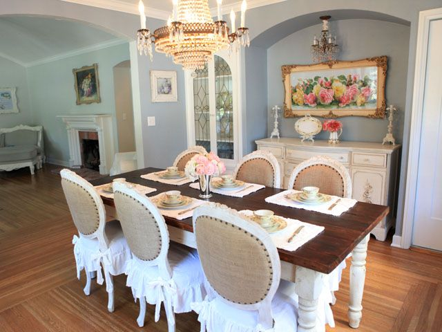 Bella French Farmhouse Dining Table In Antique White 84 Inches Love The Burlap And Cotton