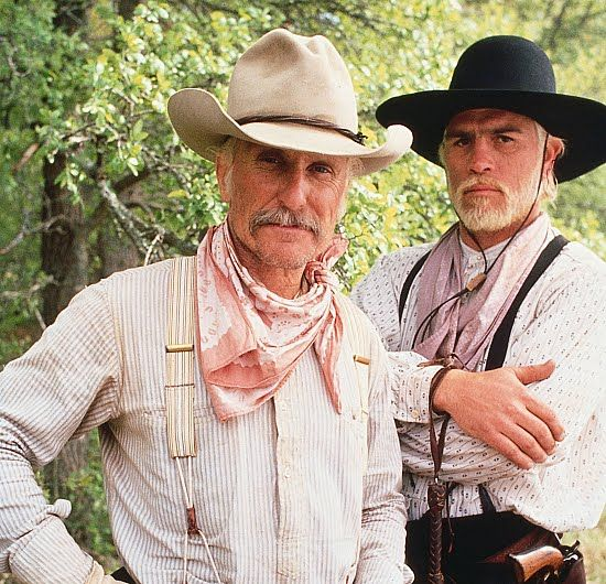 d5e8d675964 Robert Duvall (Captain Augustus MacRae) and Tommy Lee Jones (Captain  Woodrow F. Call) in Lonesome Dove.