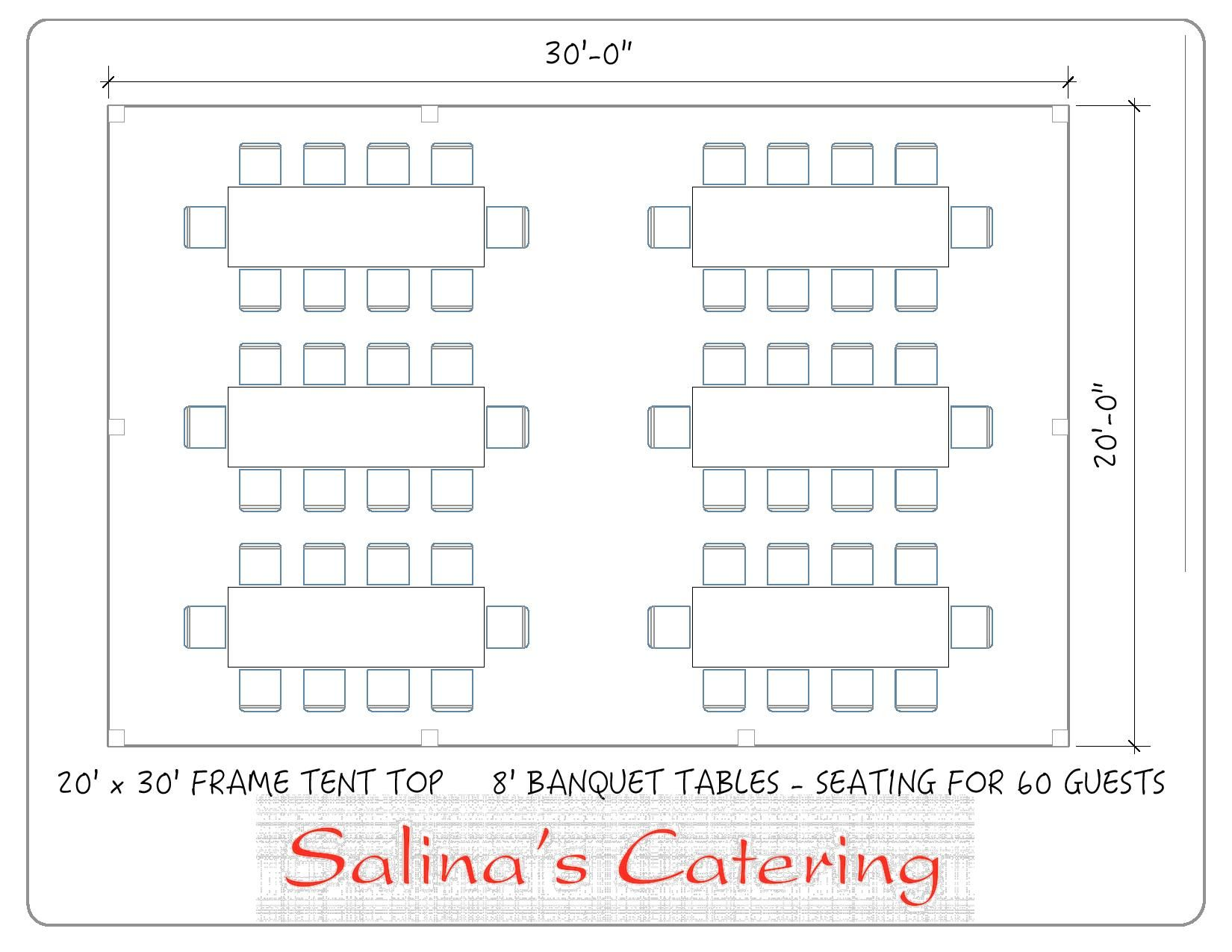 Table Seating For 20: Here Is A Top View Of A Basic Tent Layout Of A 20X30 Tent