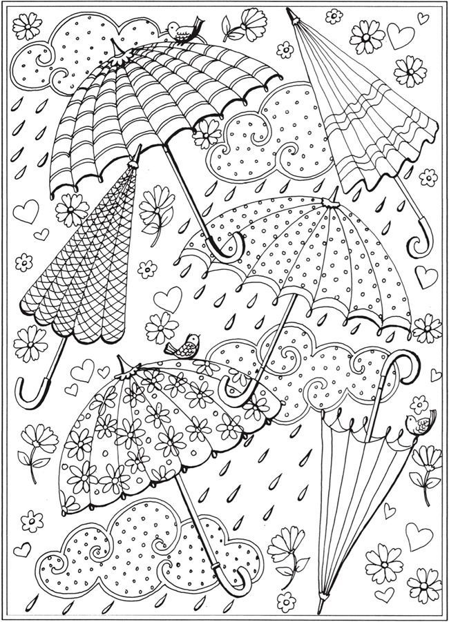 Spring Rain Umbrellas Free Printable Coloring Page From Dover Publications Spring Coloring Sheets Umbrella Coloring Page Spring Coloring Pages