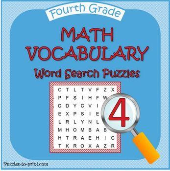 Fourth Grade Math Word Search Bundle Math vocabulary words, Math - statistics worksheet