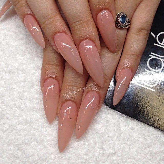 Natural Color Stiletto Nails