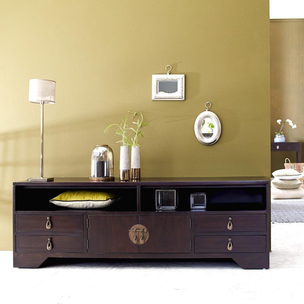 meuble tv yong tikamoon en acajou soldes meubles achat meuble et la redoute. Black Bedroom Furniture Sets. Home Design Ideas