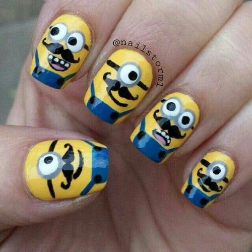 Minions with mustaches nails. This is a perfect idea for the new minions movie!