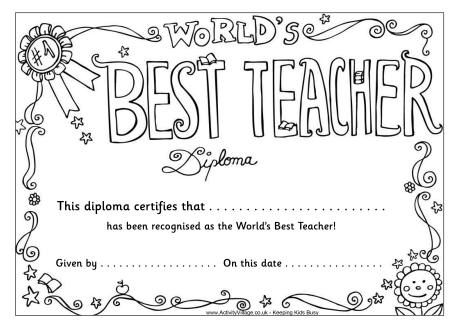 Worlds Best Teacher Diploma Coloring Page Pto Pinterest