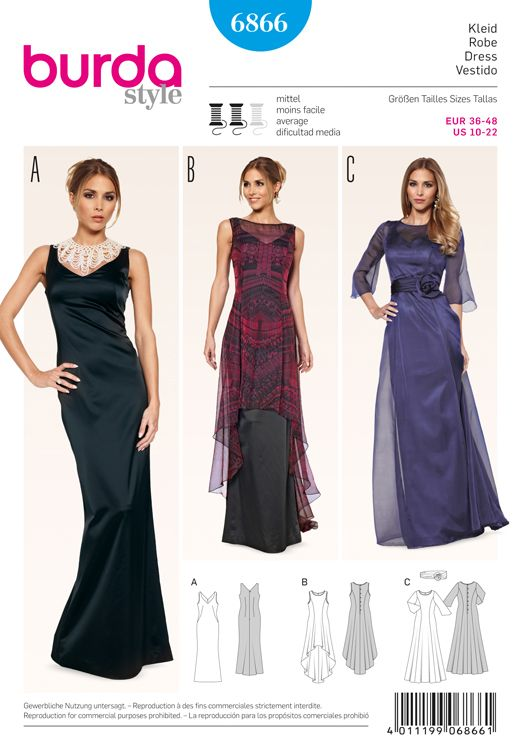 Evening Dresses Burda Sewing Pattern No. 6866. Size 10-22 ...