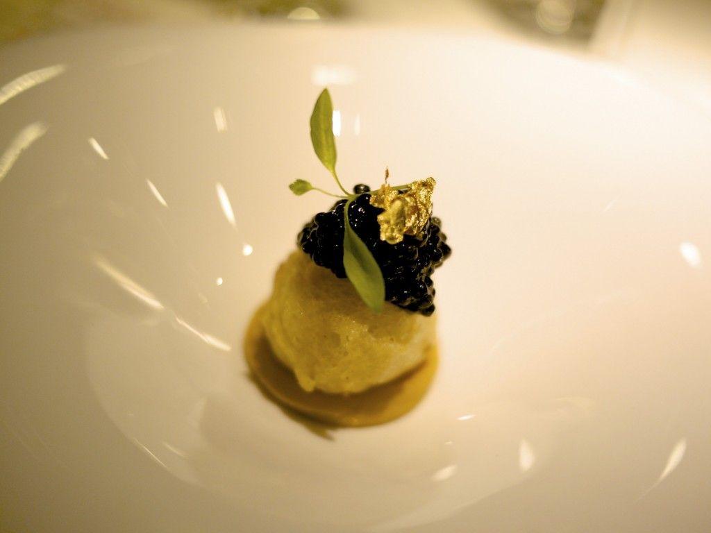 Caviar, crispy oyster milk and bottarga - Bo Innovation, #HongKong