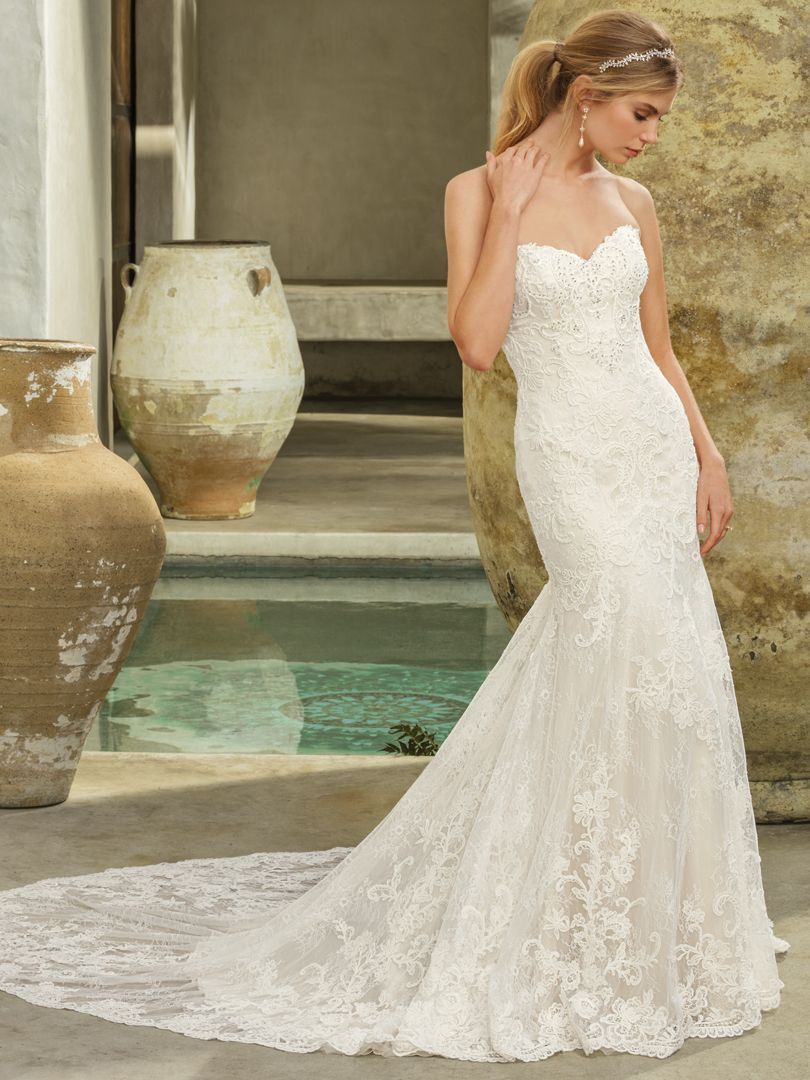 Casablanca bridal gown style avery varying scales of lace