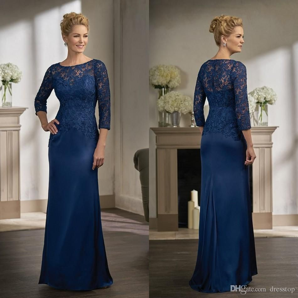 Navy Blue Lace Mother Of The Bride Dresses With Long Sleeves Jewel Neck Sheath Wedding Guest Dress Floor Length Mother Groom Gowns From Dresstop 132 83 Dhga Mother Of The Bride [ 950 x 950 Pixel ]