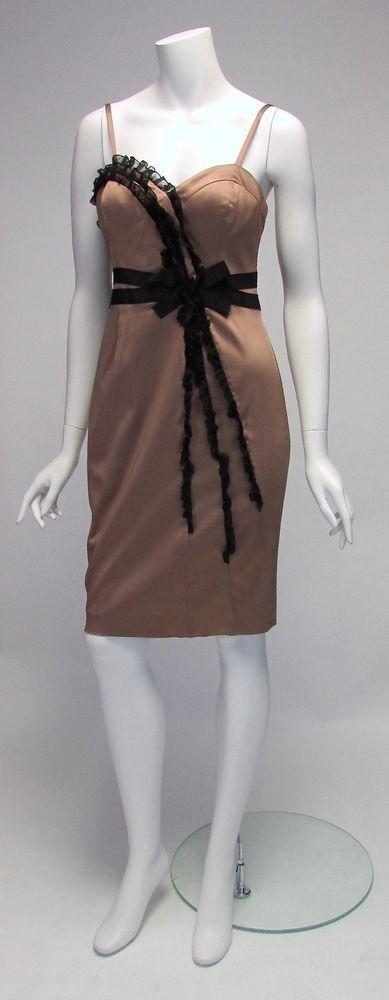 Anne Klein Bronze Black Silk Bow Cocktail Dress Knee Length Sz 2 NWOT #AnneKlein #Sheath #Cocktail