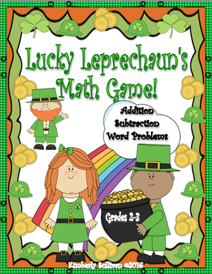St. Patrick's Day Math Game Grades 2-3 Addition Subtraction Word Problems 48 task cards Centers from Kimberly Sullivan on TeachersNotebook.com -  (19 pages)  - Fun game for math centers! 48 task cards that review addition and subtraction. Great for early finishers, small groups, special education, and home school.