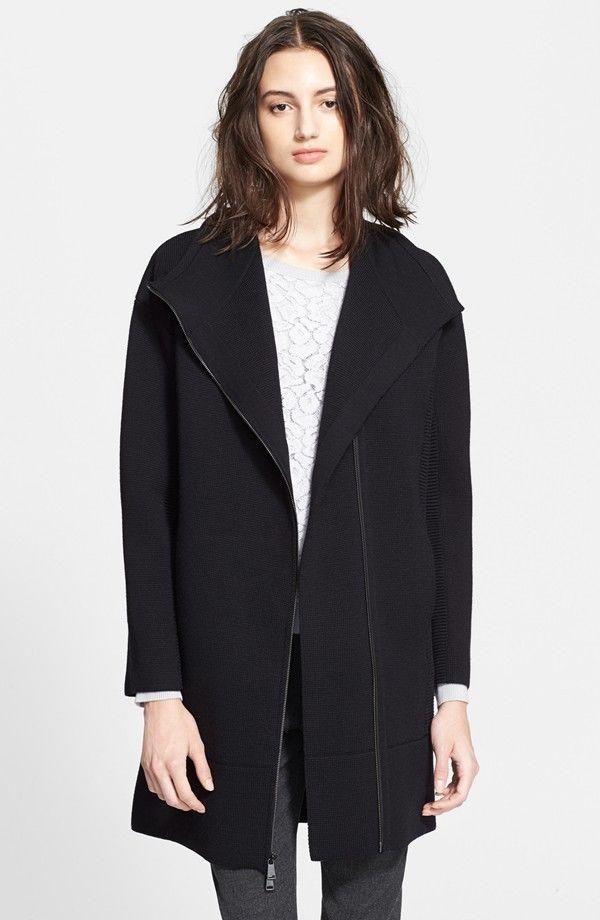 VINCE Wool Scuba Coat Jacket Size XS Black $1295 Orig Current Season #VINCE #BasicCoat