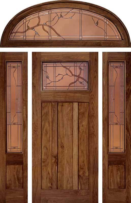 Jeld Wen 385 Walnut Door Sidelights Transom Finish Cherry Exterior Doors Craftsman Front Doors Walnut Doors