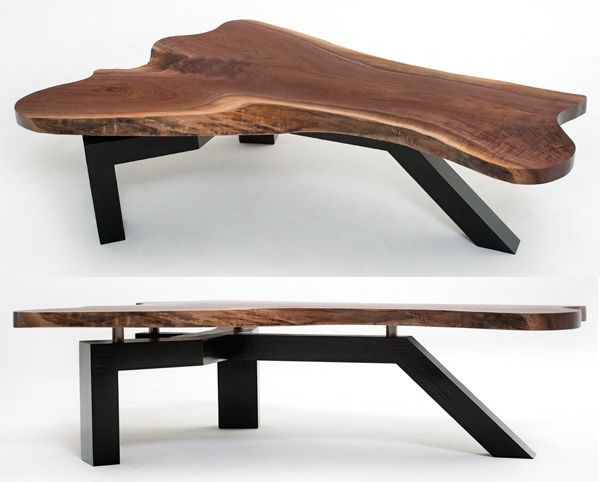 Live Edge Slab Coffee Table With Contemporary Base Black Walnut Slab Shown Item Ct03136