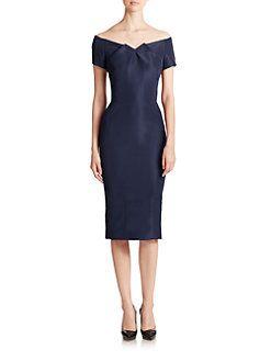 Zac Posen - Off-The-Shoulder Silk Sheath Dress