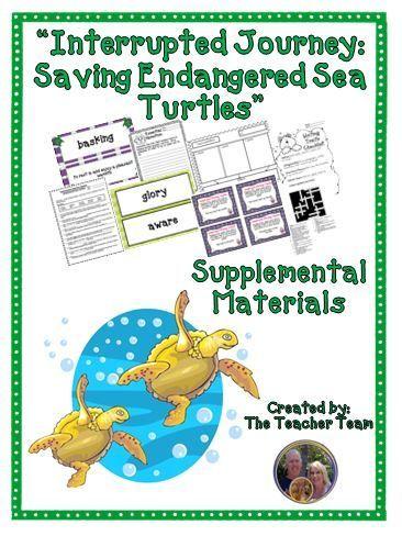 Interrupted Journey Journeys 5th Grade Unit 2 Lesson 6 Printables The Teacher Team Endangered Sea Turtles Teacher Team
