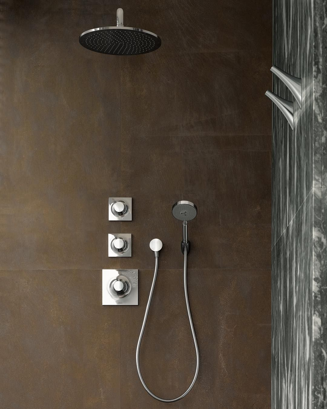 AXOR Massaud shower solution - raw and elegant.  #AXOR #AXORnordic #Massaud #design #interior #interiordesign #bathroom #bathroomdesign #bathroominspo #inspiremeinterior #interiorinspirasjon #inredning #sisustusinspiraatio