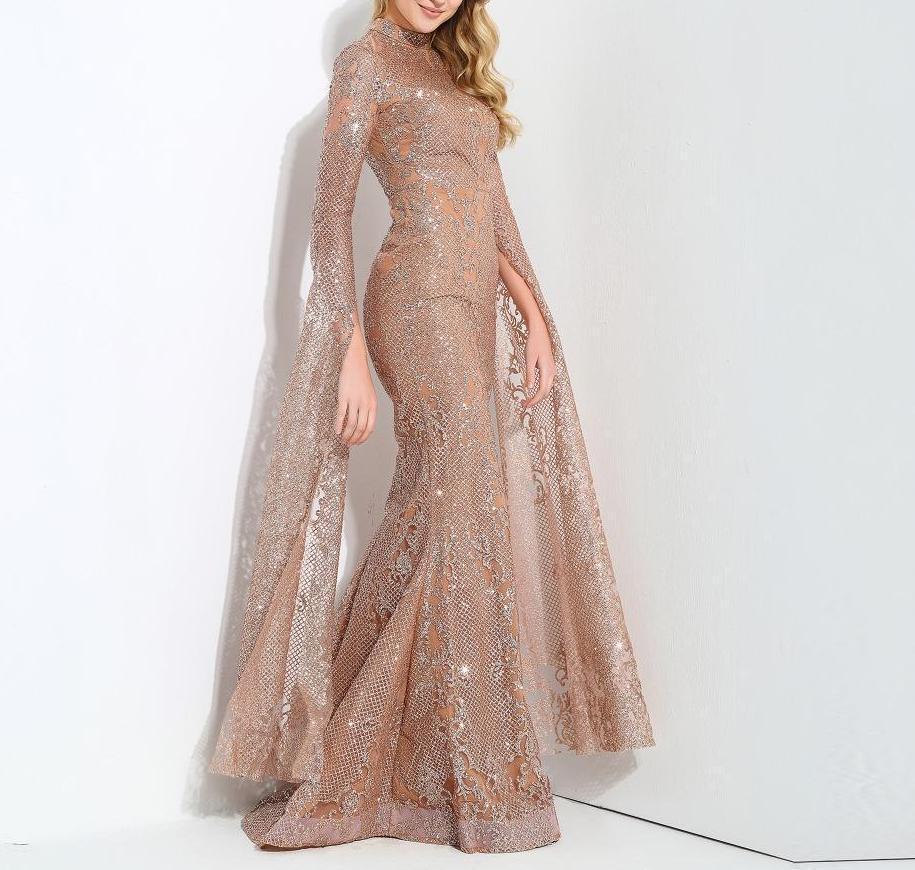 Safiya Rose Gold Glitter Maxi Dress Evening Dresses With Sleeves Long Cocktail Dress Long Dress