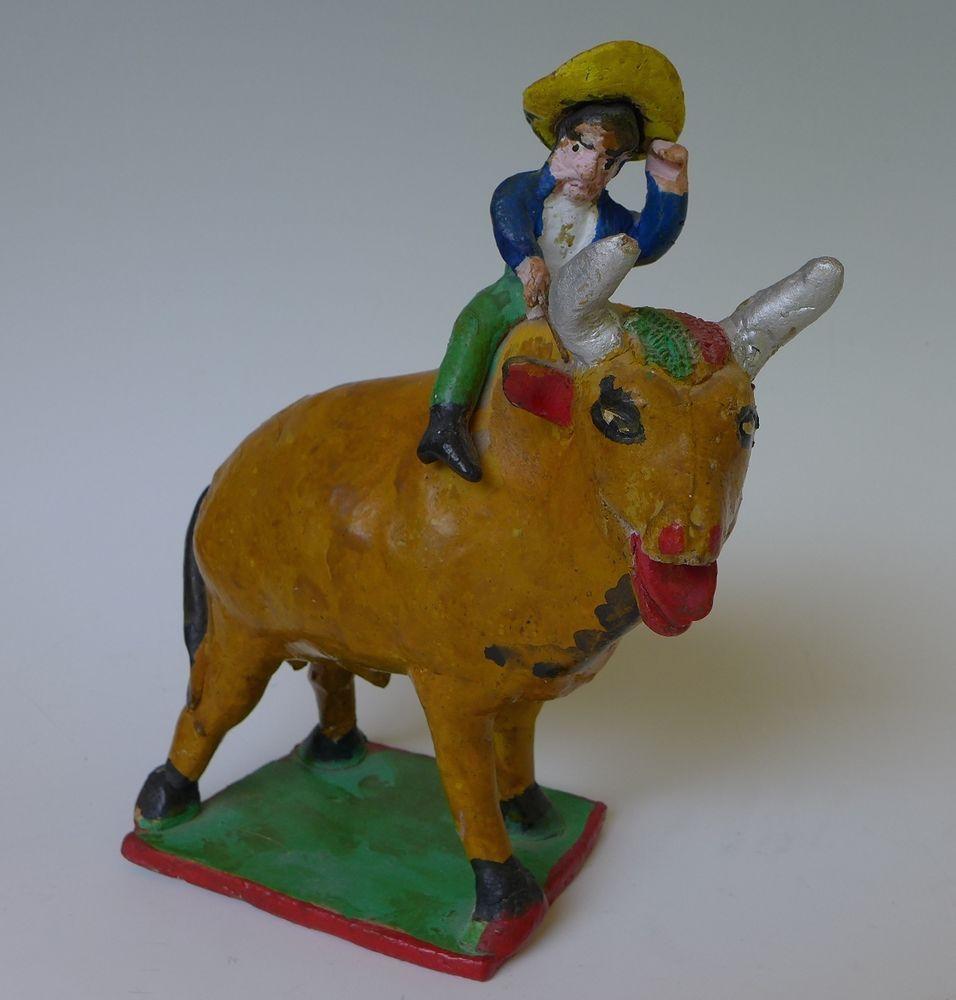 "Vintage 1940s Mexican bull w/rider attrib to JULIAN ACERO 6 3/4"" long"