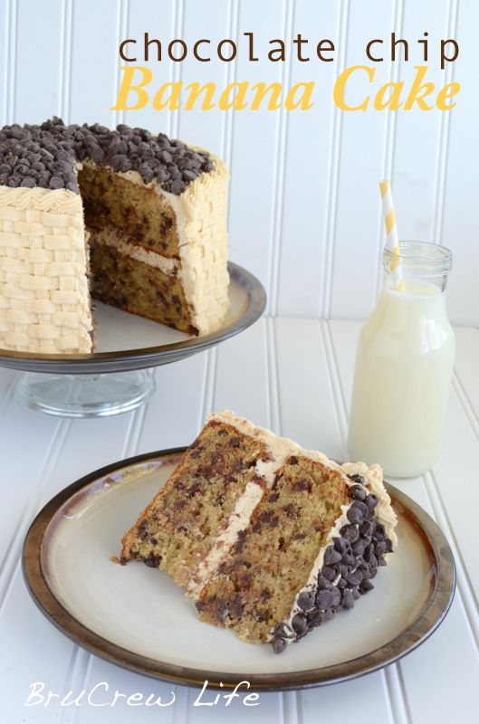 Chocolate Chip Banana Cake with Honey Peanut Butter Frosting #banana #peanutbutter