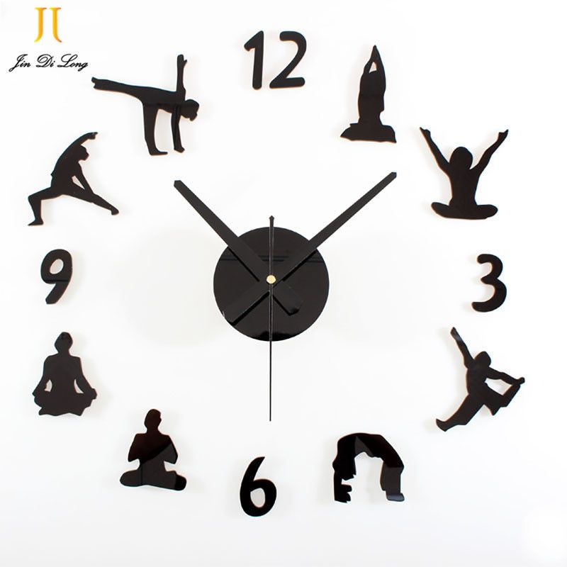 Creative Yoga Diy Wall Clock Acrylic Or Wood Material Wall Clock