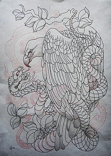 Tattoo Design Eagle And Snake Lineart By Xenija88 On Deviantart
