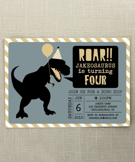 Dinosaur Birthday Invite Dino Birthday Roar Dinosaur Birthday
