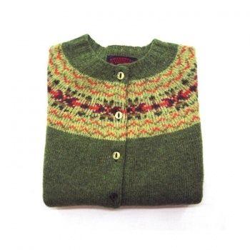 Women's Scottish Shetland Wool Fair Isle Cardigan Sweater - Olive ...