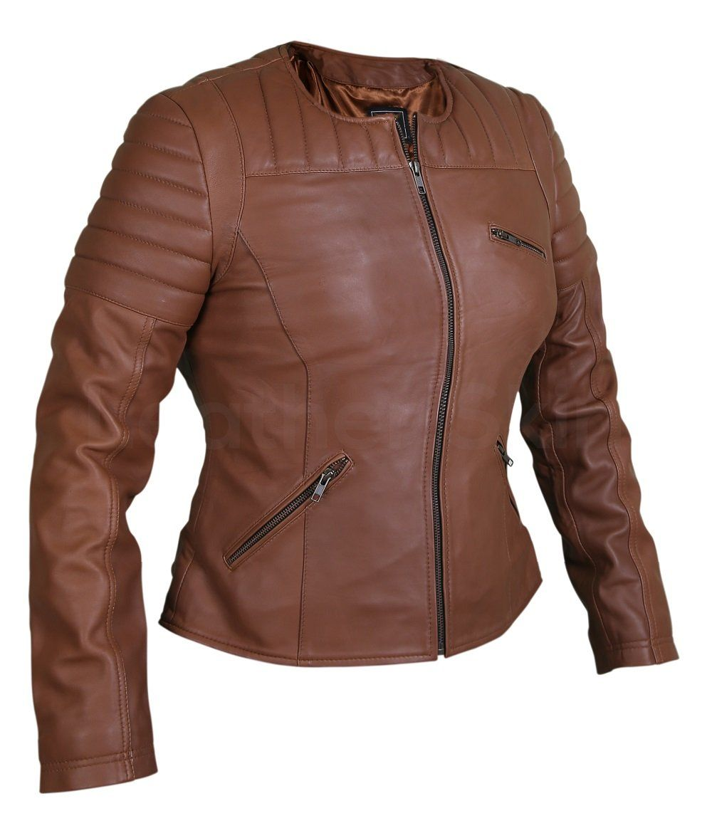 Women Brown Collarless Quilted Padded Shoulder Genuine Leather Jacket Leather Jackets Women Jackets For Women Casual Leather Jacket [ 1170 x 1000 Pixel ]