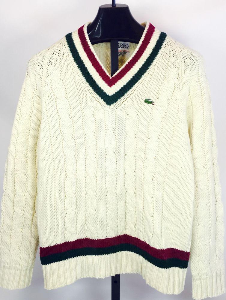 2df86f1d377b88 Vintage 70's 80's Preppy Men's IZOD Lacoste Tennis Cable Knit Sweater L |  eBay