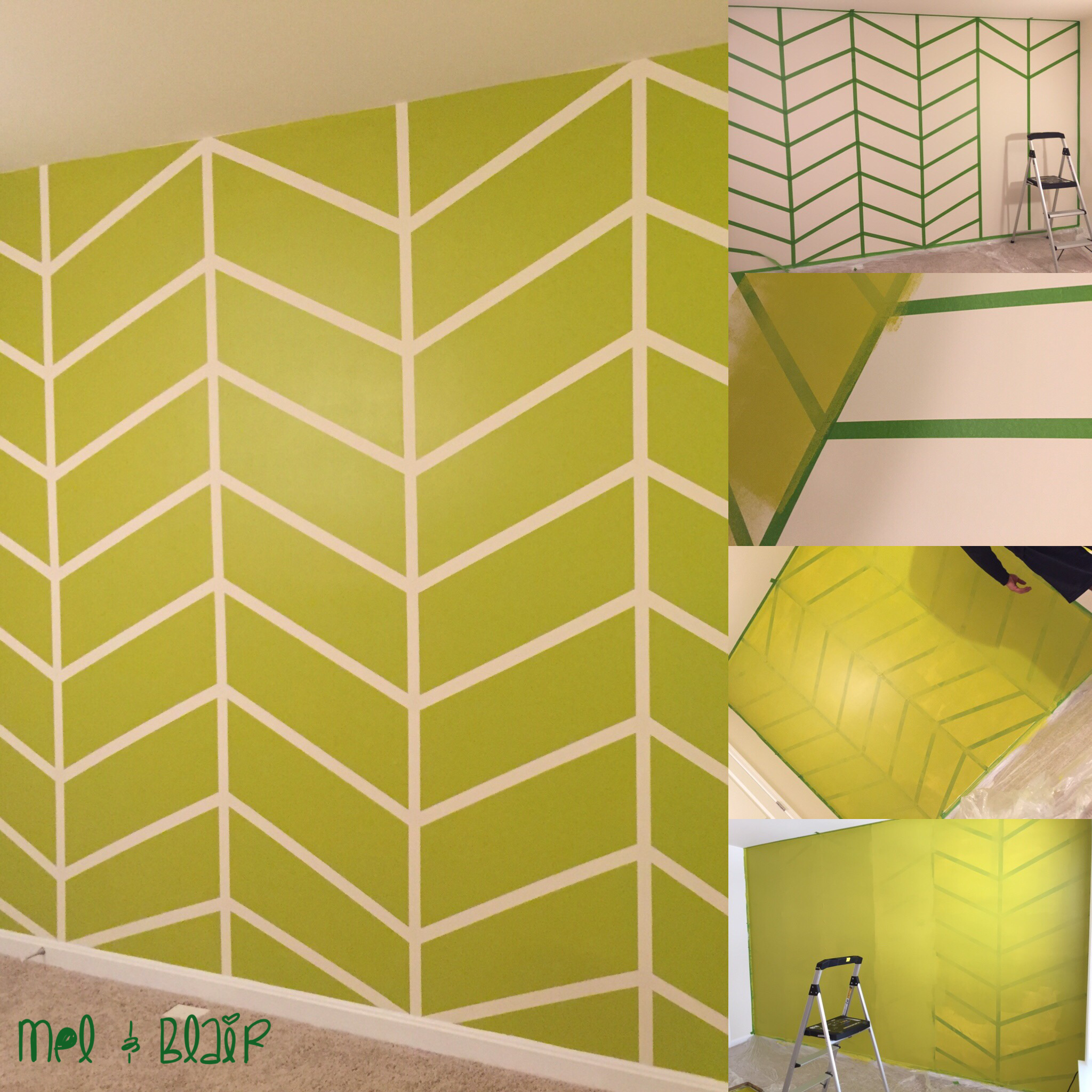 DIY Herringbone Accent Wall done by us! Step 1- Measure and tape ...