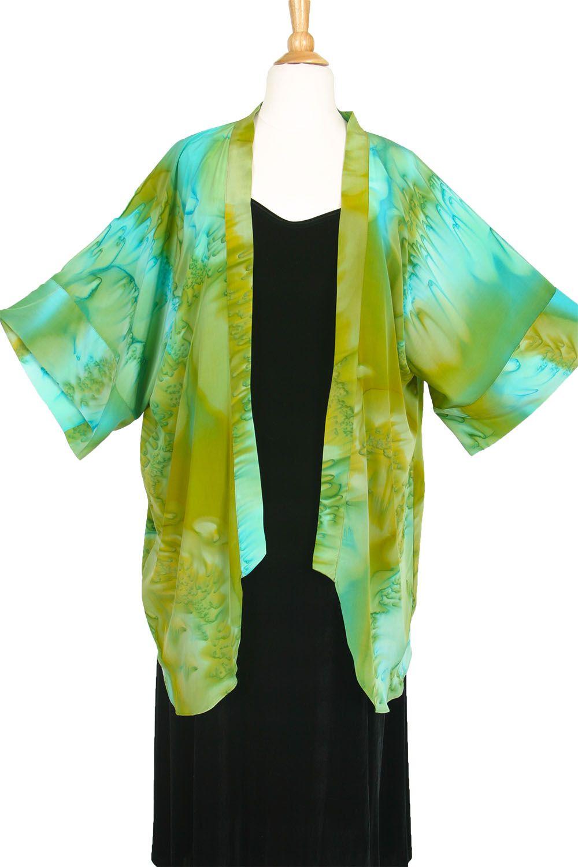 Plus Size Special Occasion Kimono Jacket Joslin Salt Dyed Aqua Turquoise Bronze Silk Crepe