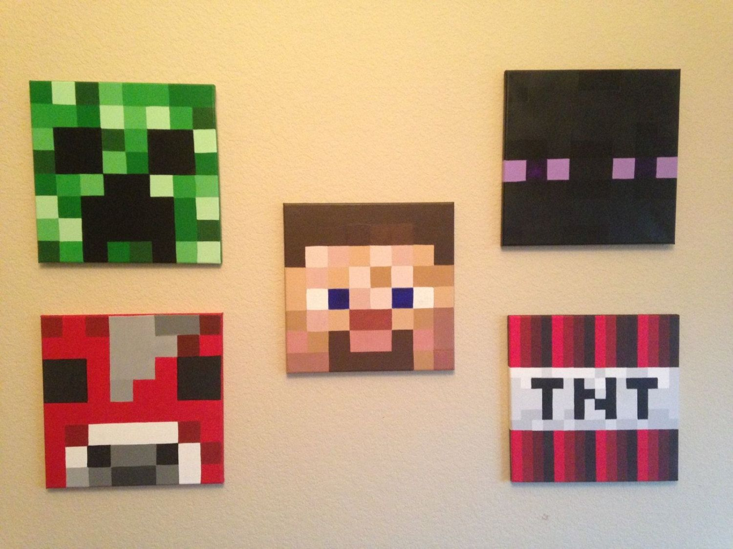 Minecraft Inspired Acrylic Paintings On 12x12 Canvas Minecraft Bedroom Minecraft Room Boys Room Decor