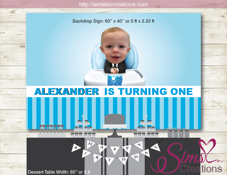 Boss Baby Printable Birthday Backdrop Banner Custom Photo Baby Birthday Backdrop Baby Birthday Poster Birthday Backdrop